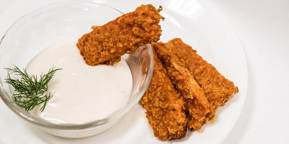tempeh frituren voor een vegan snack