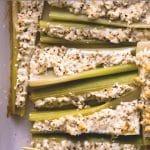 bleekselderij met blauwe kaas uit de oven